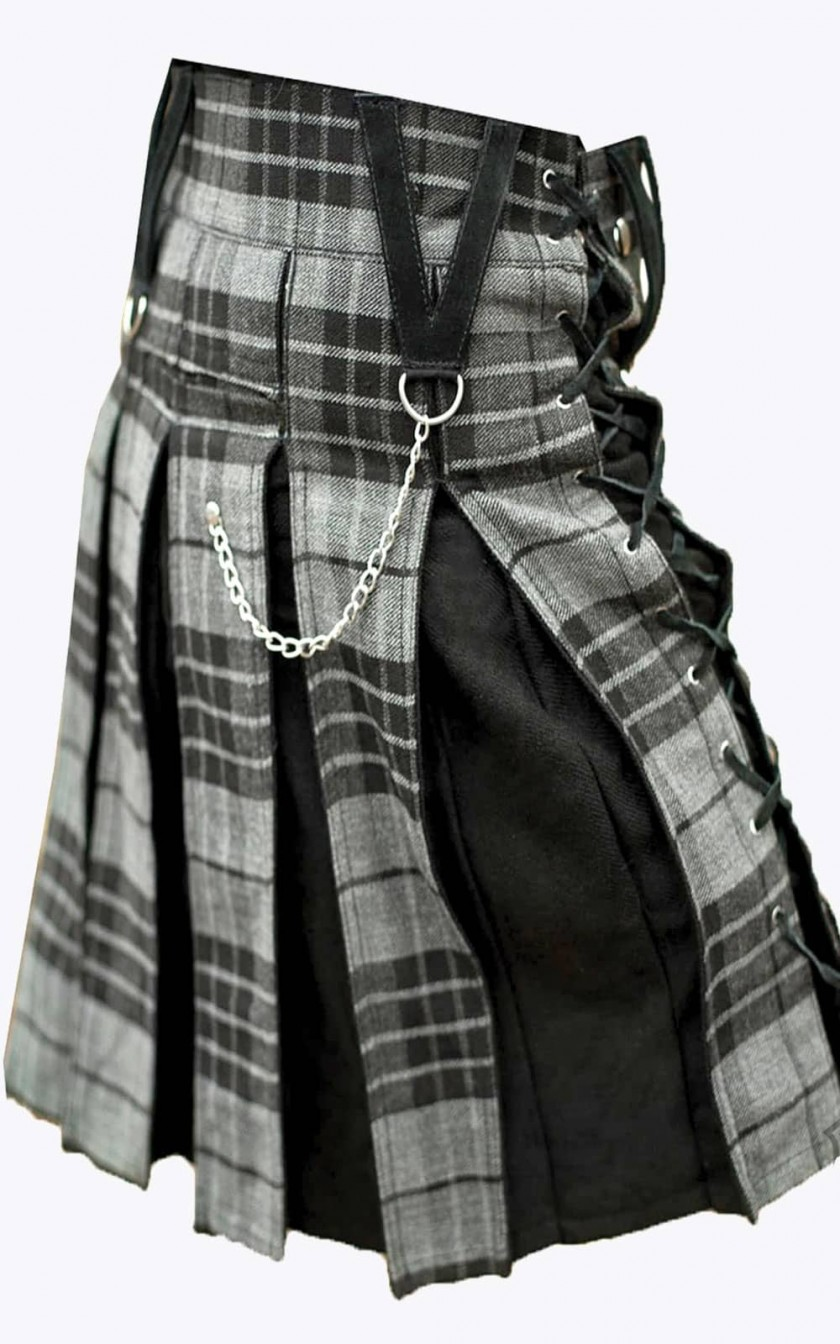 Hybrid Kilt for Men/'s Made of White Cotton Jean/'s with Mackenzie Weathered  Tartan Acrylic Wool Tartan By Unique Stuff